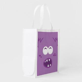 Purple Monster Face Reusable Shopping Bag Reusable Grocery Bags
