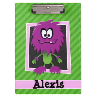 Purple Monster on Green Stripes Clipboard