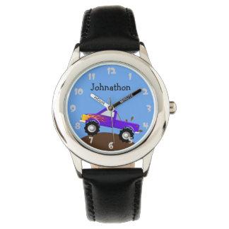 Purple Monster Truck Personalized Wrist Watch