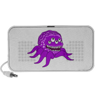 Purple Monster with Four Eyes and Tentacles Mini Speakers
