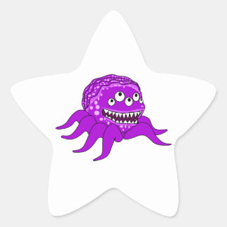 Purple Monster with Four Eyes and Tentacles Star Stickers