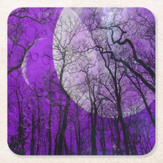Purple moon forest customize color coaster