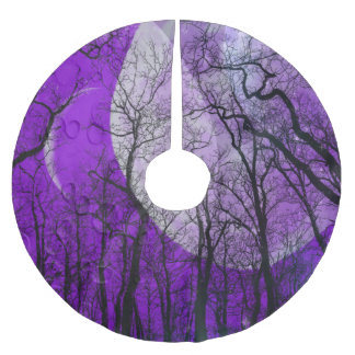 Purple moon forest customize color tree skirt brushed polyester tree skirt