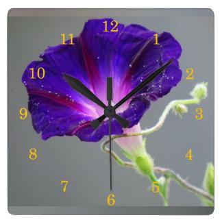 Purple Morning Glory Wallclock