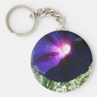 Purple Morning Glory Flower Products Basic Round Button Keychain