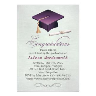 Purple mortar and diploma Graduation Party 13 Cm X 18 Cm Invitation Card