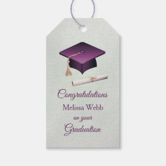 Purple mortar, diploma Graduation Gift Tags