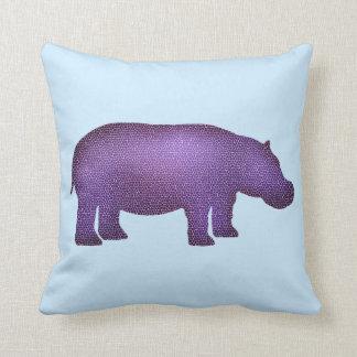 Purple Mosaic Hippo Cushion