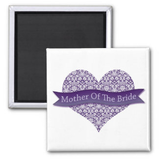 Purple Mother of the Bride Square Magnet