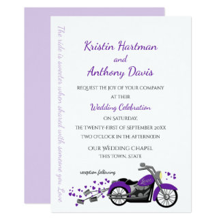 Purple Motorcycle and Hearts Wedding Card