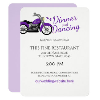 Purple Motorcycle and Hearts Wedding Reception Card