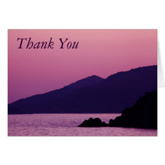 purple mountain sunset thank you note card
