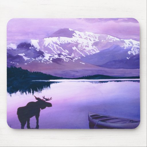 """""""Purple Mountains Majesty"""" Moose Watercolor Mouse Pad"""