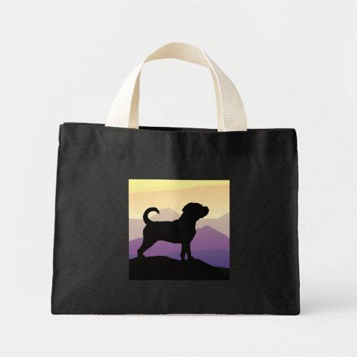 Purple Mountains Puggle Dog Canvas Bags