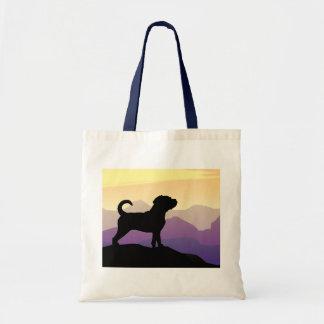 Purple Mountains Puggle Dog Budget Tote Bag