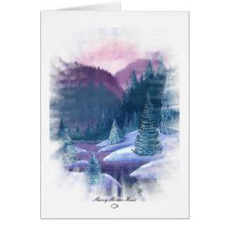 Purple Mountains with Snow Greeting Card
