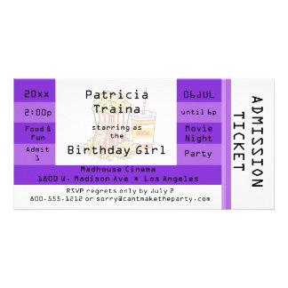Purple Movie Night Party Admission Ticket Invite