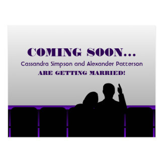 Purple Movie Theater Save the Date Postcard