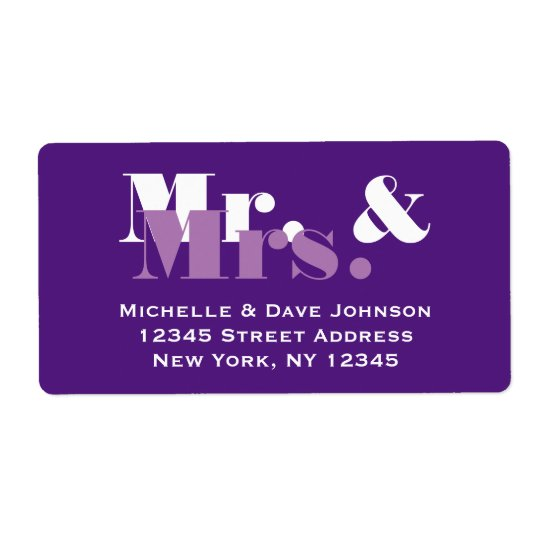 Purple Mr and Mrs address labels for wedding mail