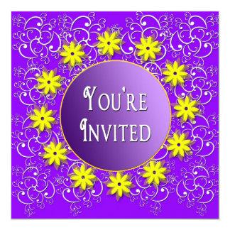 """Purple Multi-Purpose INVITATION - Yellow Flowers 5.25"""" Square Invitation Card"""