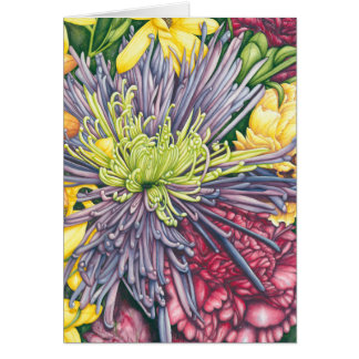 Purple Mum and Daisies Note Card