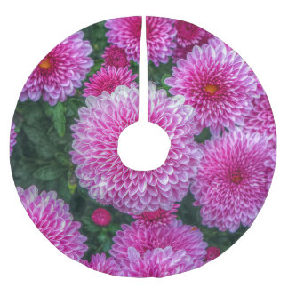 Purple Mums Brushed Polyester Tree Skirt