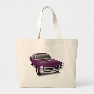 Purple muscle car large tote bag