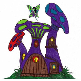 Purple Mushroom Houses with Fairy Sculpture Standing Photo Sculpture
