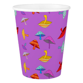 purple mushrooms party cup