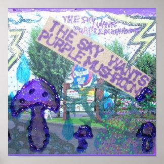 Purple Mushrooms Poster
