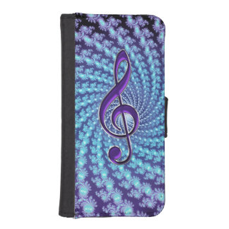 Purple Music Clef Spiral Fractal Wallet Phone Case