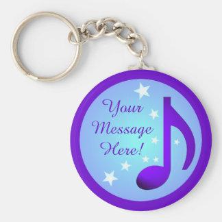Purple Music Note Blue Circle Stars Customizable Basic Round Button Key Ring