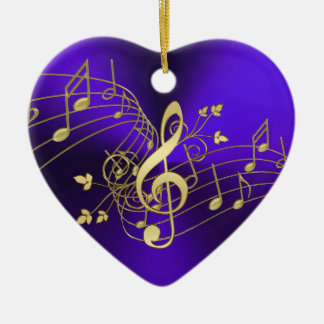 Purple Music Notes and Clef Christmas Ornament