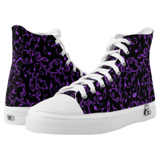 Purple Music Notes Black or Custom Color Shoes Printed Shoes