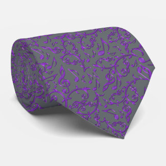 Purple Music Notes Customizable Color Tie