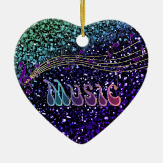 Purple Music Notes Heart Ornament