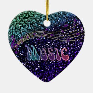 Purple Music Notes Heart Ornament