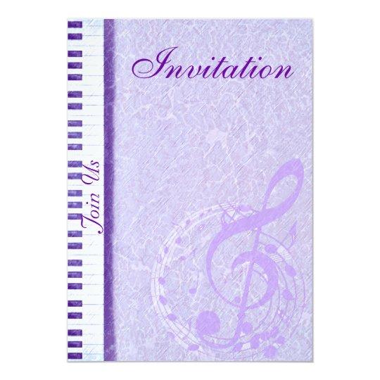 Purple music notes & Keys_Invitation Card