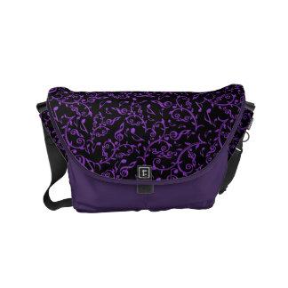 Purple Music Notes Pattern On Black Messenger Bag