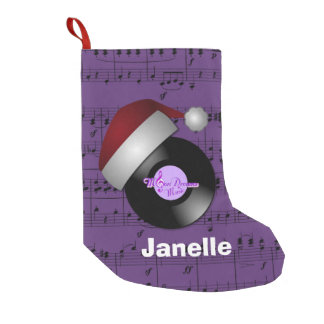Purple Music Notes Santa Hat Retro Record Small Christmas Stocking