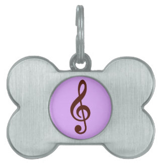 Purple Musical Note Pet ID Tag