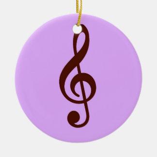 Purple Musical Note Round Ceramic Decoration
