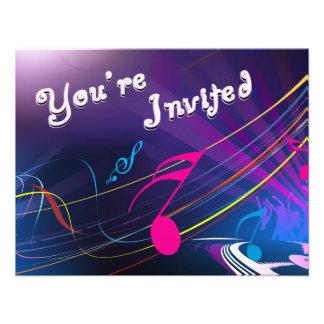 Purple Musical Notes Birthday Celebration Custom Invitations
