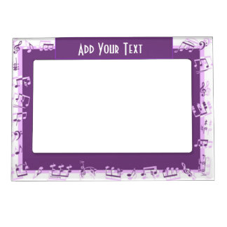 Purple musical notes magnetic picture frame