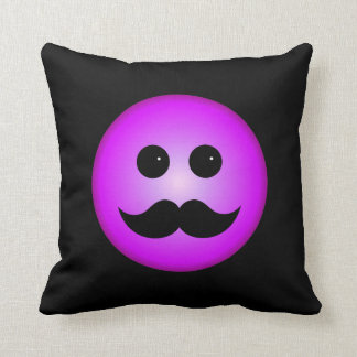 Purple Mustache Smiley Emoticon Cushion