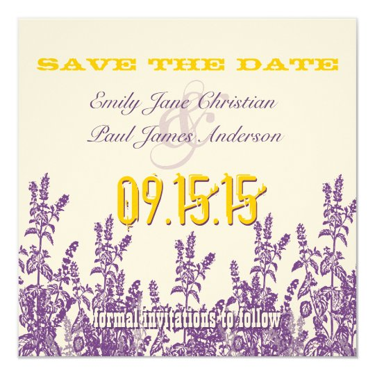 Purple Mustard Yellow Wild Flower Save the Date Card