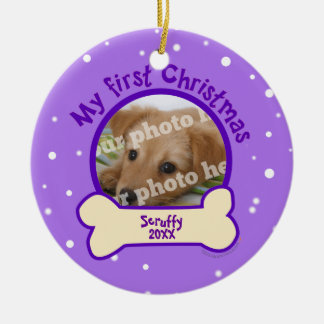 Purple My First Christmas Custom Photo Name Dog Christmas Ornament