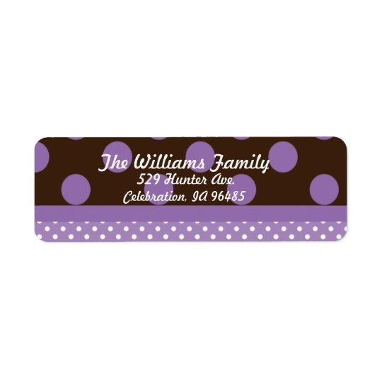Purple n Brown Dots Address Label