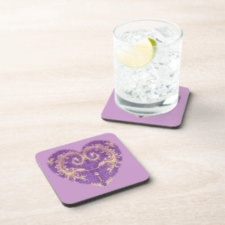 Purple N Gold Brocade Heart Coaster Set