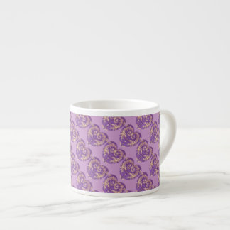 Purple N Gold Brocade Heart Espresso Mug 6 Oz Ceramic Espresso Cup